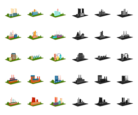 Factory and plant cartoon,black icons in set collection for design. Production and enterprise vector isometric symbol stock  illustration.