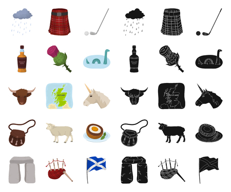 Country Scotland cartoon,black icons in set collection for design. Sightseeing, culture and tradition vector symbol stock web illustration.