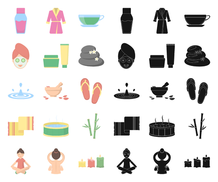 Spa salon and equipment cartoon,black icons in set collection for design. Relaxation and rest vector symbol stock web illustration. Çizim