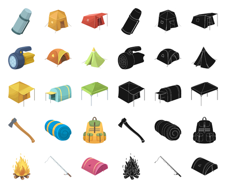 Different kinds of tents cartoon,black icons in set collection for design. Temporary shelter and housing vector symbol stock web illustration.