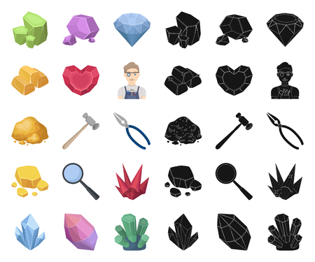 Precious Minerals cartoon,black icons in set collection for design. Jeweler and Equipment vector symbol stock web illustration. Ilustracja