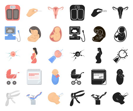 Woman and pregnancy cartoon,black icons in set collection for design. Gynecology and equipment vector symbol stock web illustration. Illustration