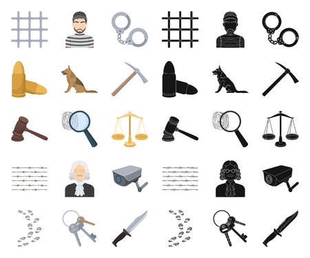 Prison and the criminal cartoon,black icons in set collection for design.Prison and Attributes vector symbol stock illustration. Illustration