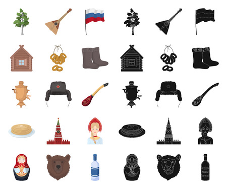 Country Russia, travel cartoon,black icons in set collection for design. Attractions and features vector symbol stock web illustration.