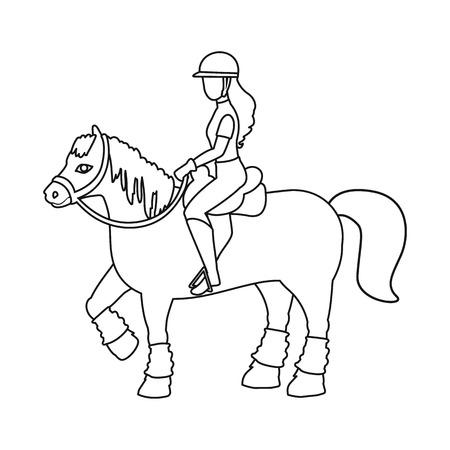 Vector design of horseback and equestrian symbol. Collection of horseback and horse  stock vector illustration.