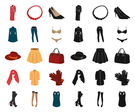 Womens Clothing cartoon,black icons in set collection for design.Clothing Varieties and Accessories vector symbol stock web illustration. Illustration
