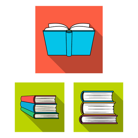 Isolated object of library and textbook. Collection of library and school stock vector illustration.