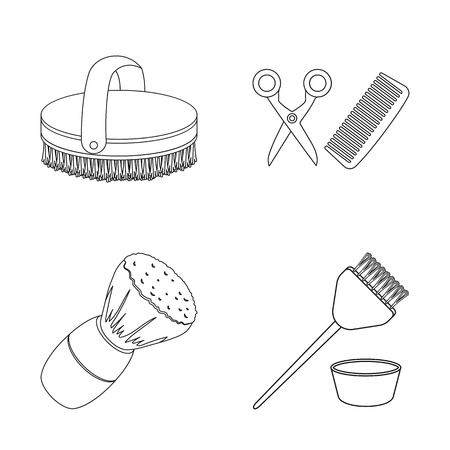 Isolated object of brush  and hygiene. Collection of brush  and shower stock symbol for web. Illustration