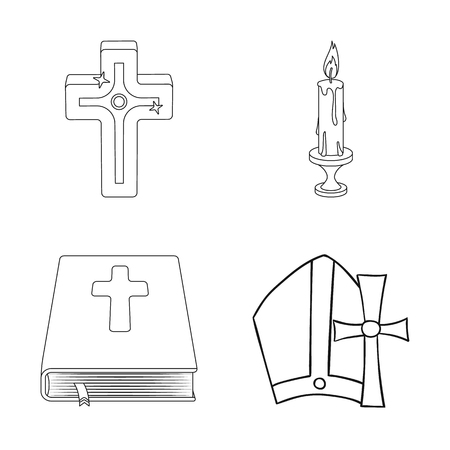 Isolated object of muslim and items icon. Set of muslim and candle vector icon for stock.