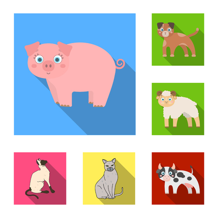 Isolated object of animal and habitat icon. Collection of animal and farm stock symbol for web. Illustration