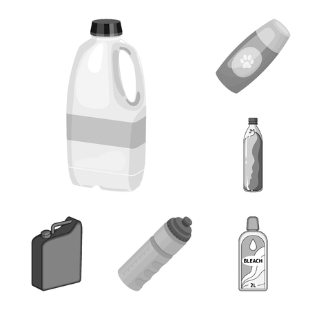 Isolated object of plastic and container sign. Set of plastic and packaging vector icon for stock.