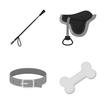 Isoliertes Objekt des Logos für Haustiere und Zubehör. Sammlung von Haustier- und Shop-Aktiensymbolen für das Web.