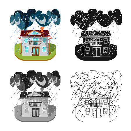 Isolated object of weather and distress symbol. Collection of weather and crash stock vector illustration.