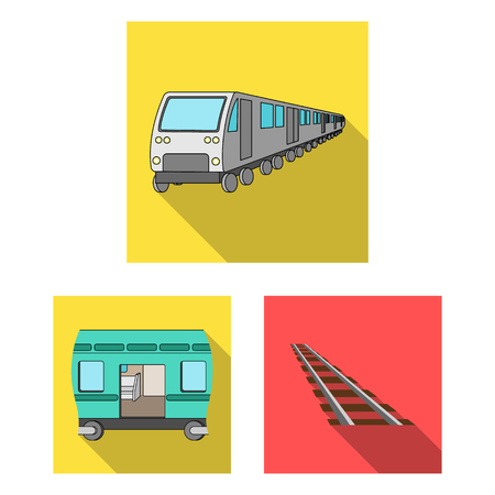 Vector illustration of railroad and train sign. Set of railroad and way vector icon for stock.