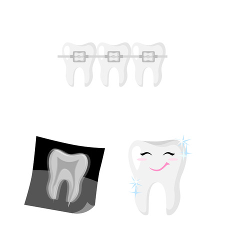 Vector illustration of tooth and happy logo. Collection of tooth and whitening stock symbol for web. Çizim