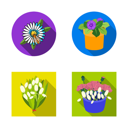 Vector illustration of spring and wreath logo. Set of spring and blossom stock vector illustration.