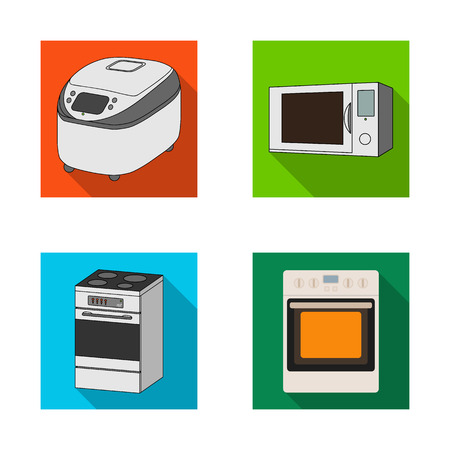 Vector design of food and inside sign. Collection of food and cooker stock symbol for web. Ilustração