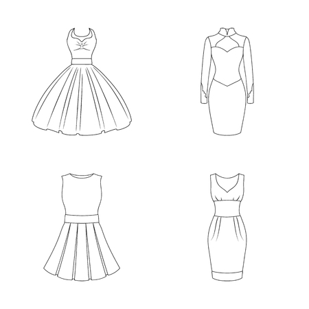 Isolated object of dress and clothes icon. Set of dress and evening stock vector illustration. Illustration
