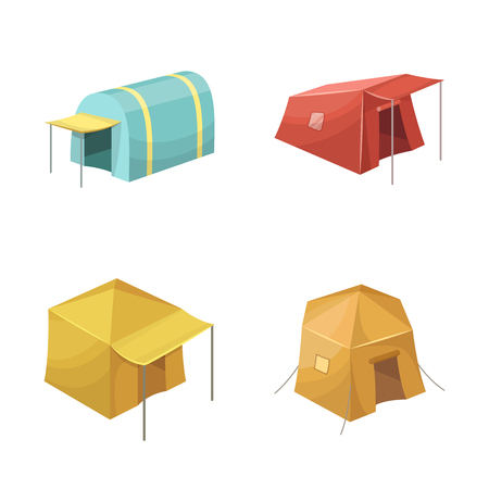 Vector illustration of tent  and camp icon. Set of tent  and forest vector icon for stock.