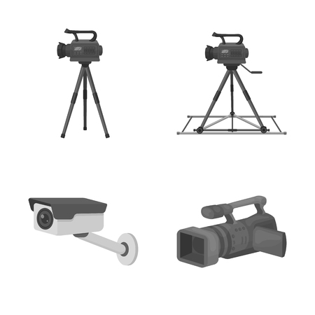 Isolated object of camcorder and camera icon. Set of camcorder and dashboard vector icon for stock. Çizim