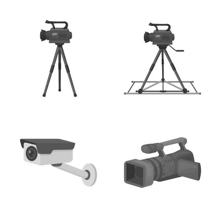 Isoliertes Objekt von Camcorder und Kamerasymbol. Satz von Camcorder- und Dashboard-Vektorsymbolen für Aktien. Vektorgrafik