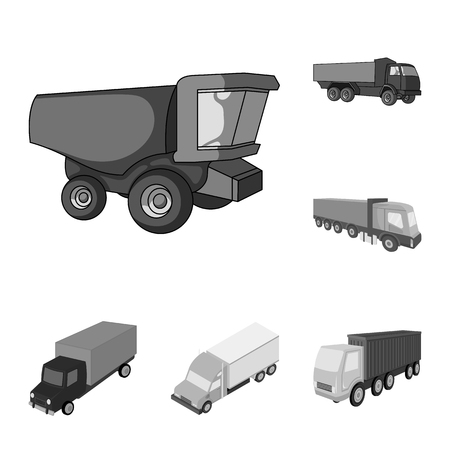 Vector design of truck and shipping icon. Collection of truck and container stock symbol for web.