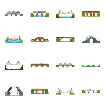 Vector illustration of bridgework and bridge sign. Set of bridgework and landmark vector icon for stock.  イラスト・ベクター素材