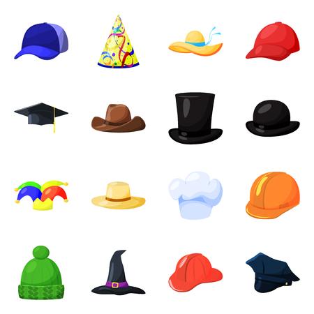Vektor-Illustration von Kopfbedeckungen und Napper-Logo. Sammlung von Kopfbedeckungen und Helmvektorsymbolen für Lager.