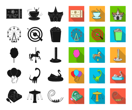 Amusement park black,flat icons in set collection for design. Equipment and attractions vector symbol stock web illustration.