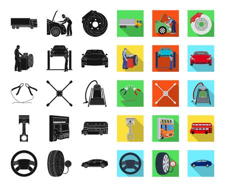 Coche, ascensor, bomba y otros equipos negros, planos iconos de colección set de diseño. Web del ejemplo de la acción del símbolo del vector de la estación de mantenimiento del coche.