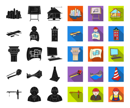 Architecture and construction black,flat icons in set collection for design. Architect and equipment vector symbol stock web illustration.