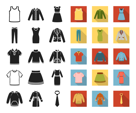Different kinds of clothes black,flat icons in set collection for design. Clothes and style vector symbol stock web illustration.
