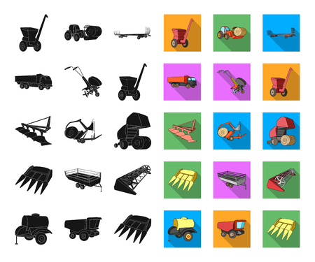 Agricultural machinery black,flat icons in set collection for design. Equipment and device vector symbol stock web illustration. Ilustração