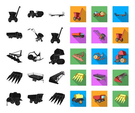 Maquinaria agrícola negro, planos iconos de colección set de diseño. Ilustración de stock de símbolo de vector de equipo y dispositivo. Ilustración de vector