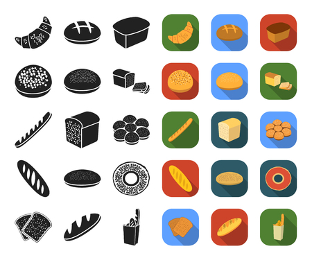 Types of bread black,flat icons in set collection for design. Bakery products vector symbol stock web illustration.