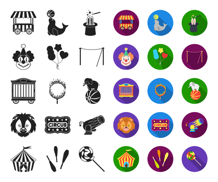 Circus and attributes black,flat icons in set collection for design. Circus Art vector symbol stock web illustration.