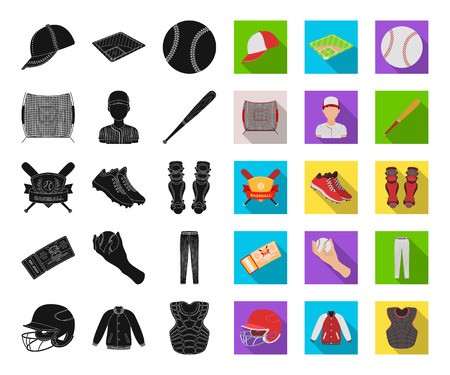 Baseball and attributes black,flat icons in set collection for design.Baseball player and equipment vector symbol stock web illustration.