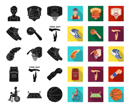 Basketball and attributes black,flat icons in set collection for design.Basketball player and equipment vector symbol stock web illustration.