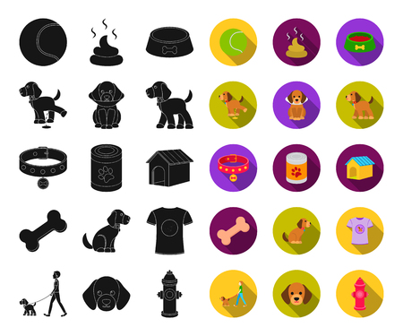 Pet dog black,flat icons in set collection for design. Caring for the puppy vector symbol stock web illustration.