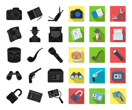 Detective and Attributes black,flat icons in set collection for design.Detective Agency vector symbol stock web illustration.