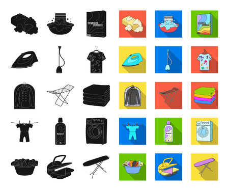 Dry cleaning equipment black,flat icons in set collection for design. Washing and ironing clothes vector symbol stock web illustration.