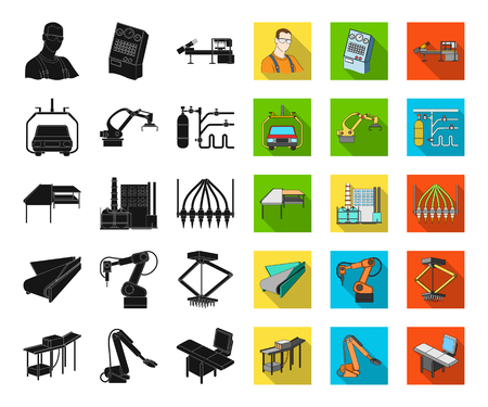 Equipment and machine black,flat icons in set collection for design. Technical progress of the factory vector symbol stock illustration. Иллюстрация