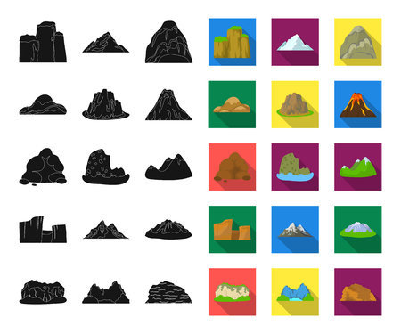 Different mountains black,flat icons in set collection for design.Mountains and landscape vector symbol stock web illustration. 矢量图像