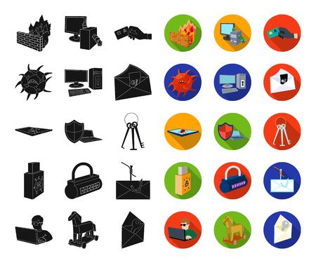 Hacker et piratage d'icônes noires, plates dans la collection de jeux pour la conception. Hacker et équipement vecteur symbole stock illustration web.