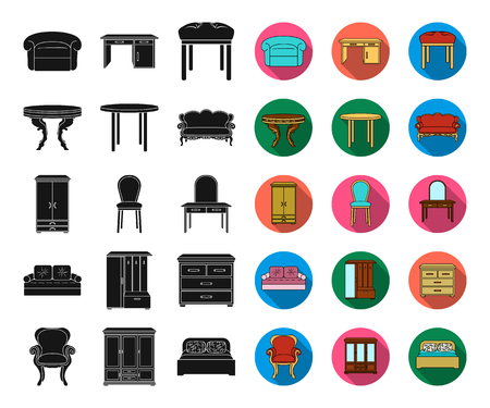 Furniture and interior black,flat icons in set collection for design.Home furniture vector symbol stock web illustration. Illustration