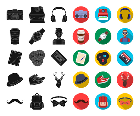 Style Hipster black,flat icons in set collection for design. Hipster Attributes and accessories vector symbol stock web illustration.