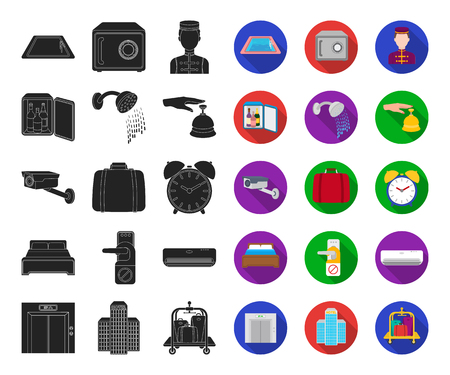 Hotel and equipment black,flat icons in set collection for design. Hotel and comfort vector symbol stock web illustration.