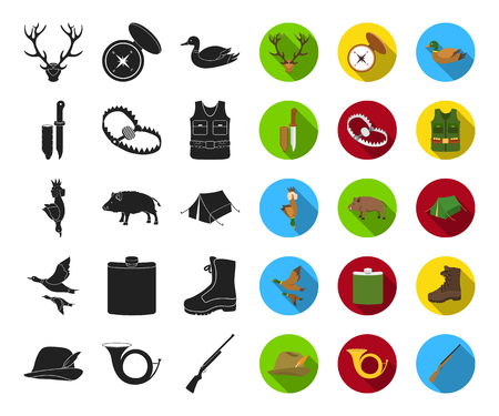 Hunting and trophy black,flat icons in set collection for design. Hunting and equipment vector symbol stock web illustration.