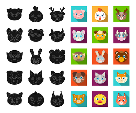 Muzzles of animals black,flat icons in set collection for design. Wild and domestic animals vector symbol stock web illustration.