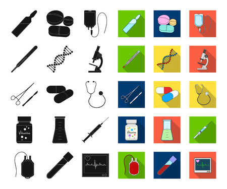 Medicine and treatment black,flat icons in set collection for design. Medicine and equipment vector symbol stock web illustration.